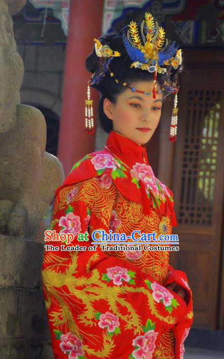 Traditional Ancient Chinese Imperial Empress Wedding Costume Complete Set, Elegant Hanfu Clothing Chinese Ming Dynasty Bride Embroidered Red Dress Clothing