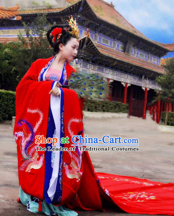 Traditional Ancient Chinese Imperial Empress Wedding Costume, Elegant Hanfu Clothing Chinese Tang Dynasty Queen Embroidered Red Clothing