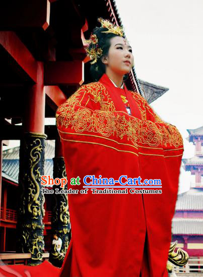 Traditional Ancient Chinese Imperial Empress Wedding Red Costume Complete Set, Elegant Hanfu Clothing Chinese Ming Dynasty Imperial Concubine Embroidered Clothing