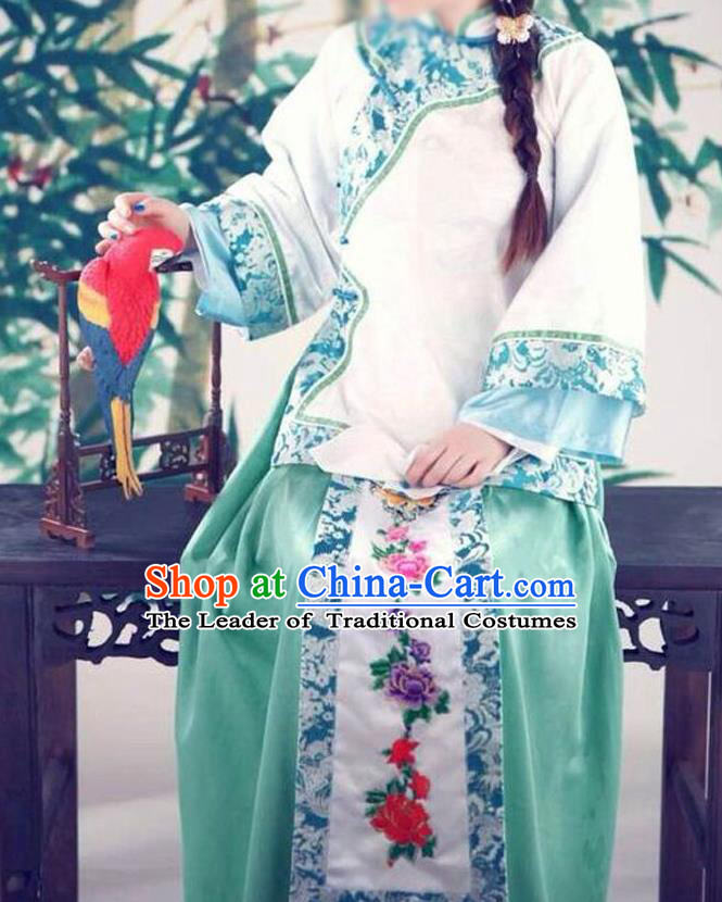 Traditional Ancient Chinese Republic of China Princess Costume Imperial Consort Blue Xiuhe Suit, Elegant Hanfu Clothing Chinese Qing Dynasty Nobility Dowager Clothing for Women