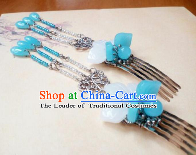 Traditional Handmade Chinese Ancient Classical Hair Accessories Blue Tassel Hairpin Headwear Hair Stick for Women