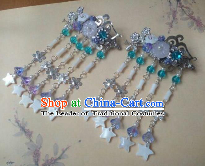 Traditional Handmade Chinese Ancient Classical Hair Accessories Hairpins Stars Tassel Hair Comb for Women