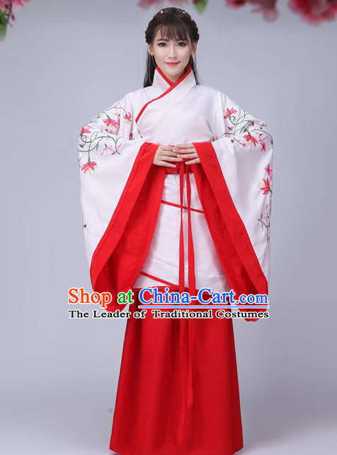 Traditional Chinese Han Dynasty Palace Lady Fairy Costume Embroidery Wide Sleeve Curve Bottom, Elegant Hanfu Clothing China Ancient Princess Clothing for Women