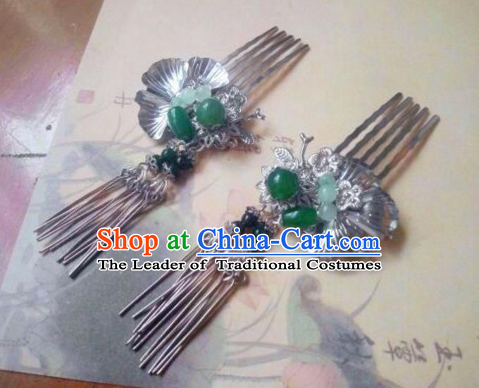 Traditional Handmade Chinese Ancient Classical Hanfu Hair Accessories Tassel Hair Comb, Princess Palace Lady Tassel Hairpins Hair Stick for Women