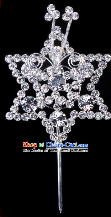 Traditional Beijing Opera Diva Hair Accessories Crystal Hexagon Head Ornaments Hairpins, Ancient Chinese Peking Opera Hua Tan Hair Stick Headwear
