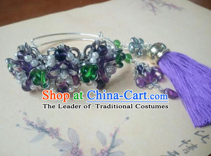 Traditional Handmade Chinese Ancient Classical Hanfu Bracelet, Princess Palace Lady Purple Bangle for Women