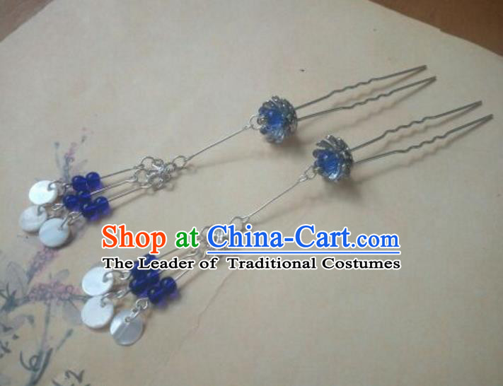Traditional Handmade Chinese Ancient Classical Hanfu Hair Accessories Palace Lady Tassel Step Shake, Princess Headpiece Hairpins Hair Fascinators for Women