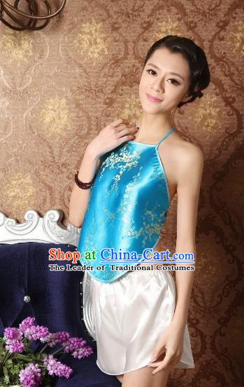 Traditional Chinese Ming Dynasty Princess Blue Bellyband, China Ancient Palace Lady Stomachers Embroidery Undergarment for Women