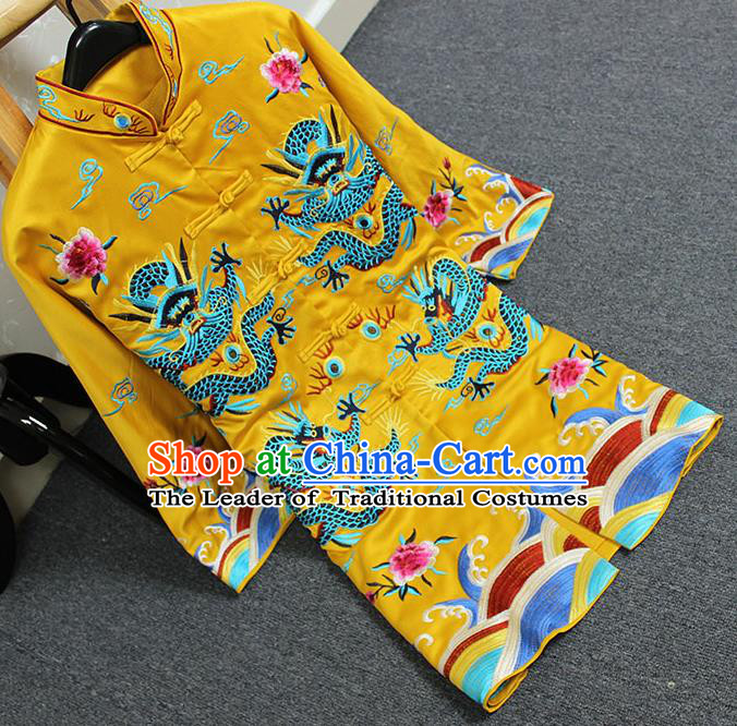 Traditional Top Grade Asian Chinese Costumes Classical Embroidery Dragons Yellow Coat, China National Plated Buttons Dust Coat for Women
