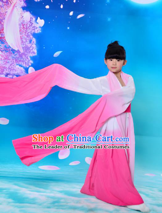 Traditional Asian Oriental Water Sleeve Costumes, China Tang Dynasty Hanfu Princess Fairy Pink Dress for Kids