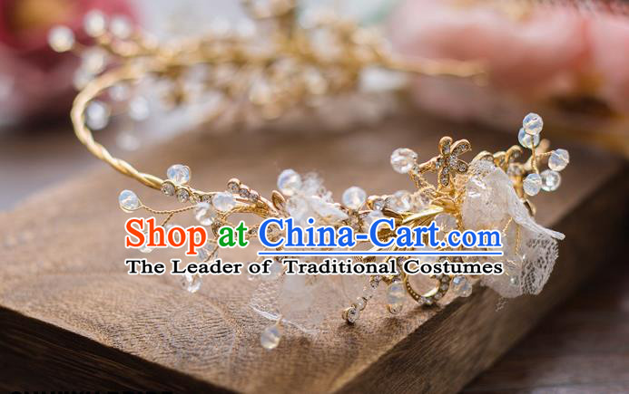 Top Grade Handmade Classical Hair Accessories Baroque Style Princess Crystal Lace Hair Clasp Headwear for Women