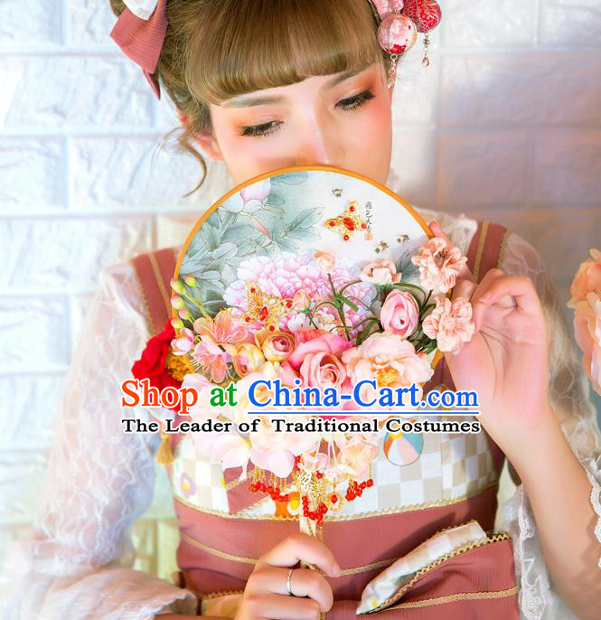 Traditional Asian Oriental Chinese Palace Lady Princess Wedding Round Fans, Bride Pink Peony Flowers Circular Fan for Women
