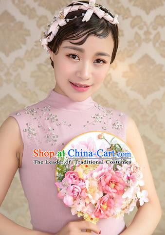 Traditional Asian Oriental Chinese Palace Lady Princess Wedding Round Fans, Bride Pink Peony Flowers Butterfly Circular Fan for Women