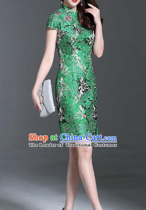 Asian Chinese Oriental Costumes Classical Palace Embroidery Green Lace Cheongsam, Traditional China National Chirpaur Tang Suit Stand Collar Qipao Dress for Women