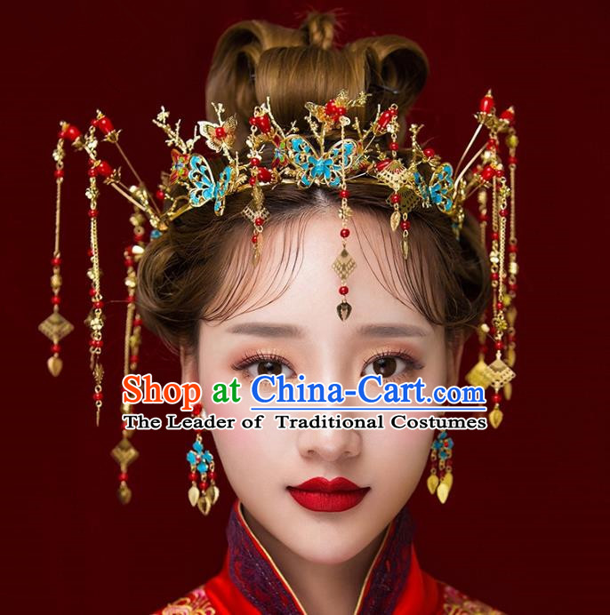 Aisan Chinese Handmade Classical Hair Accessories Phoenix Coronet Complete Set, China Xiuhe Suit Blueing Butterfly Hairpins Wedding Headwear for Women