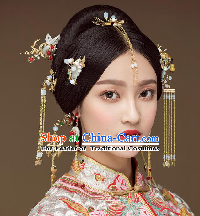 Aisan Chinese Handmade Classical Hair Accessories Hair Comb Complete Set, China Xiuhe Suit Tassel Step Shake Hairpins Wedding Headwear for Women