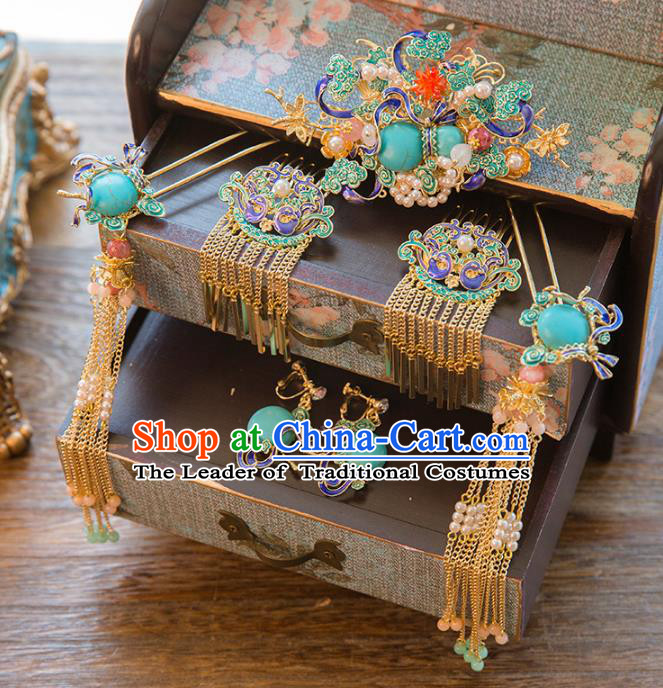 Aisan Chinese Handmade Classical Hair Accessories Cloisonne Hair Comb Complete Set, China Xiuhe Suit Tassel Step Shake Hairpins Wedding Headwear for Women