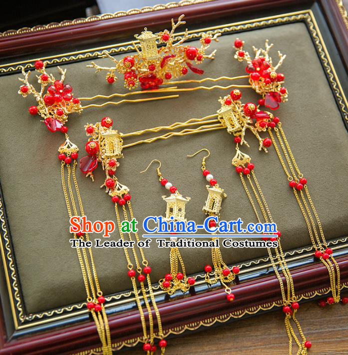 Aisan Chinese Handmade Classical Bride Hair Accessories Phoenix Coronet Complete Set, China Xiuhe Suit Red Beads Tassel Hairpins Wedding Headwear for Women