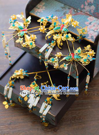 Aisan Chinese Handmade Classical Hair Accessories Green Butterfly Phoenix Coronet Complete Set, China Xiuhe Suit Hairpins Wedding Headwear for Women