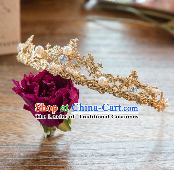 Top Grade Handmade Classical Hair Accessories Baroque Style Princess Crystal Pearls Royal Crown Headwear for Women