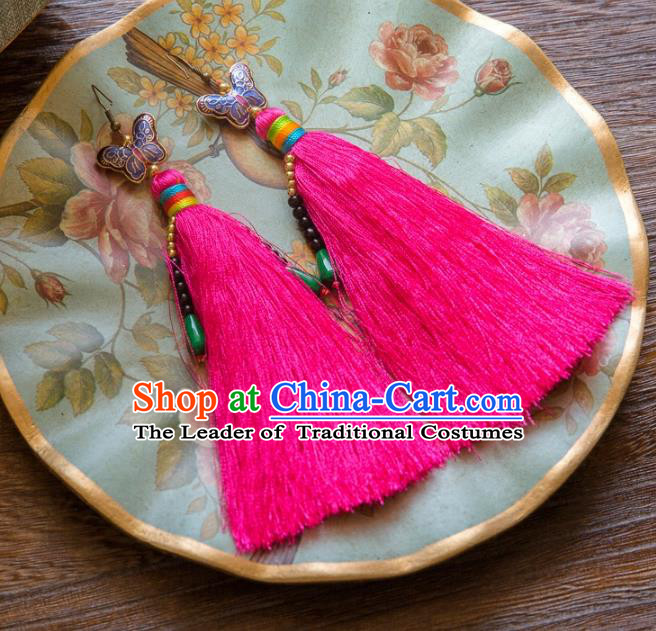Chinese Handmade Classical Embroidery Butterfly Earrings, China Xiuhe Suit Wedding Rosy Tassel Eardrop for Women