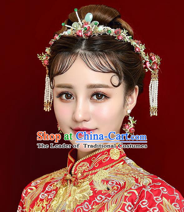 Chinese Handmade Classical Hair Accessories Pomegranate Hair Clasp Complete Set, China Xiuhe Suit Hairpins Wedding Headwear for Women