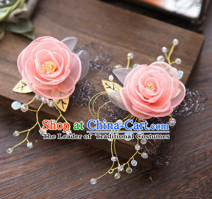 Top Grade Handmade Classical Hair Accessories Baroque Style Princess Pink Flower Hair Clasp Headwear for Women