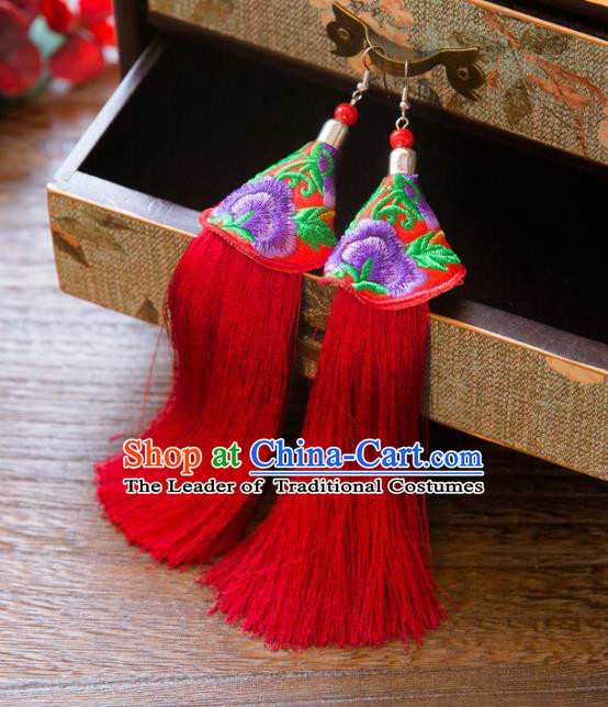 Top Grade Handmade Classical Hair Accessories Chinese Hanfu Red Tassel Earrings, China Ancient Princess Purple Embroidery Eardrop for Women