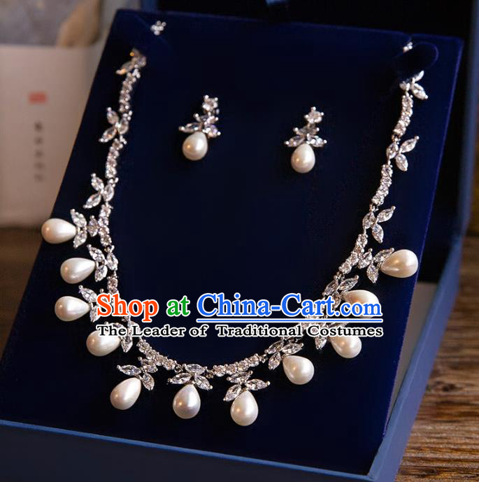 Top Grade Handmade Classical Jewelry Accessories Baroque Style Princess Pearls Necklace and Earrings for Women