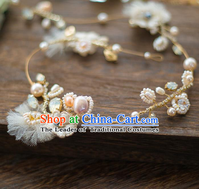 Top Grade Handmade Classical Hair Accessories Baroque Style Princess Pearls Hair Clasp Headband Headwear for Women