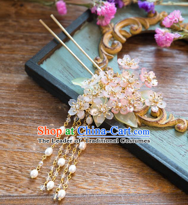 Chinese Handmade Classical Ancient Costume Hair Accessories Hanfu Tassel Hair Clip, China Bride Xiuhe Suit Hairpins Headwear Complete Set for Women