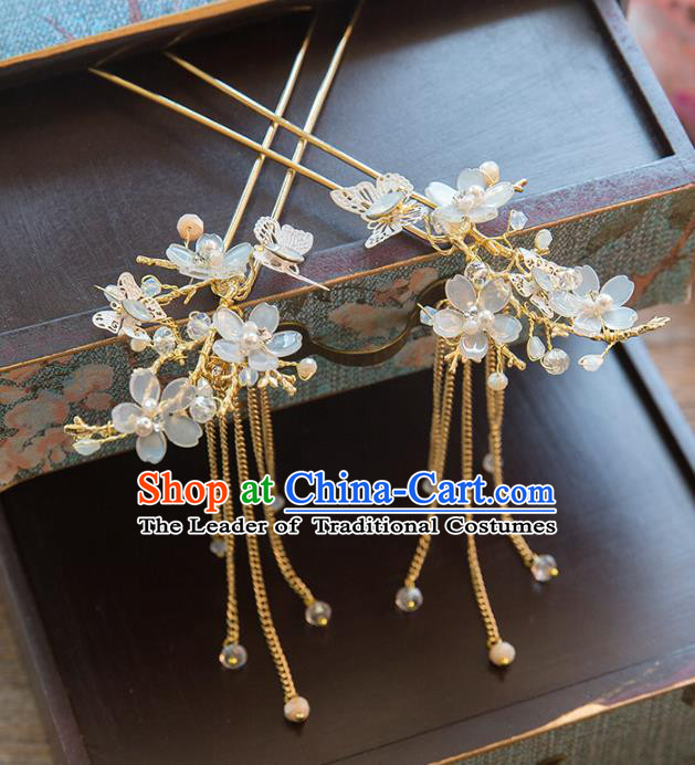 Chinese Handmade Classical Ancient Costume Hair Accessories Hanfu Tassel Hair Clip, China Bride Xiuhe Suit Flowers Hairpins Headwear Complete Set for Women
