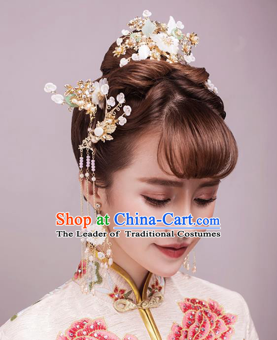 Aisan Chinese Handmade Classical Hair Accessories Hanfu Shell Flowers Hair Clasp Complete Set, China Xiuhe Suit Hairpins Wedding Headwear for Women