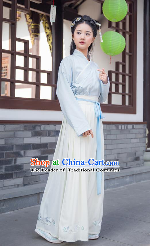 Traditional Asian Chinese Hanfu Costumes Han Dynasty Young Lady Embroidered Blouse and Slip Skirts Complete Set