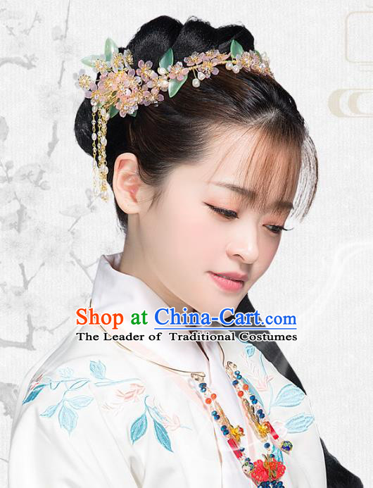 Chinese Handmade Classical Hair Accessories Bride Pink Hair Clasp Complete Set, China Xiuhe Suit Hairpins Wedding Headwear for Women