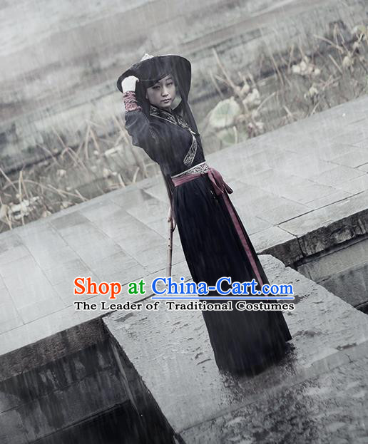 Traditional Ancient Chinese Swordswoman Costume, Chinese Ming Dynasty Heroine Embroidered Clothing for Women