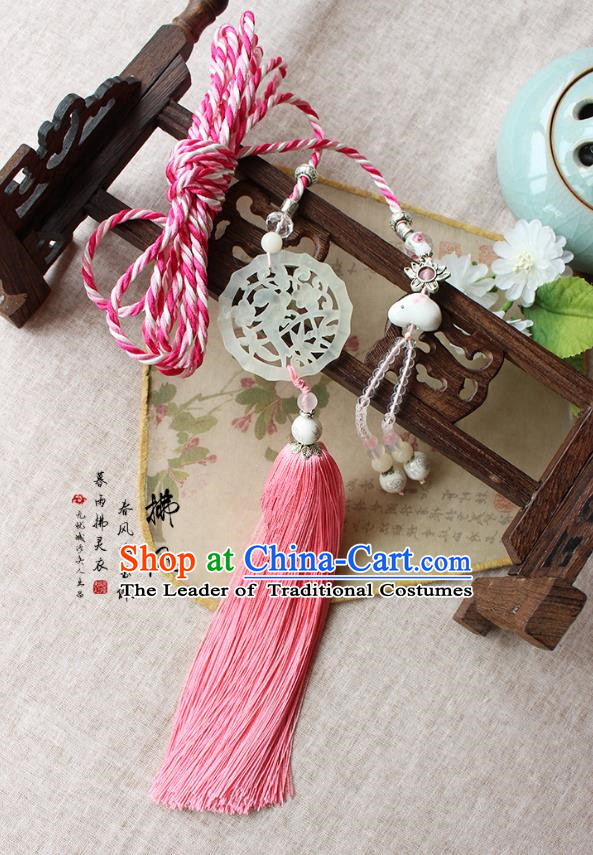 Chinese Handmade Classical Accessories Pink Tassel Palace Taeniasis, China Hanfu Waist Jade Pendant Headwear for Women