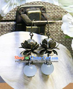 Chinese Handmade Classical Accessories Hanfu Lotus Earrings, China Xiuhe Suit Tassel Eardrop for Women