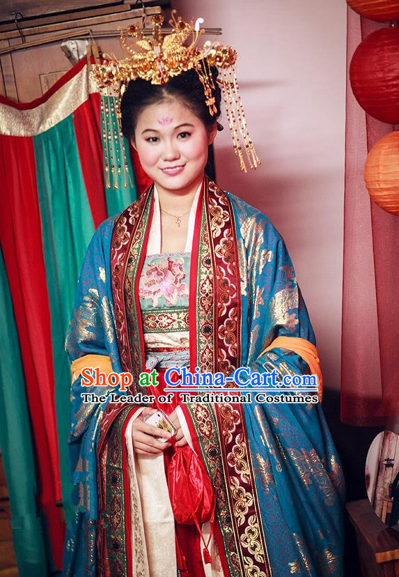 Traditional Ancient Chinese Imperial Consort Costume and Headpiece Complete Set, Chinese Tang Dynasty Imperial Empress Tailing Embroidered Clothing for Women