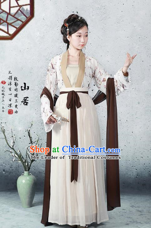 Traditional Ancient Chinese Song Dynasty Young Lady Costume, Chinese Hanfu Princess Dress for Women
