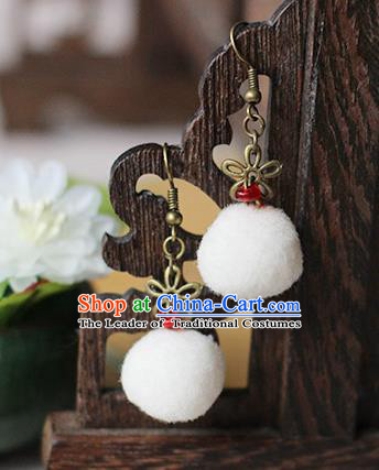 Chinese Handmade Classical Accessories Hanfu White Venonat Earrings, China Xiuhe Suit Wedding Eardrop for Women
