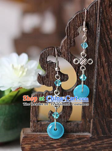 Chinese Handmade Classical Accessories Hanfu Blue Tassel Earrings, China Xiuhe Suit Wedding Eardrop for Women
