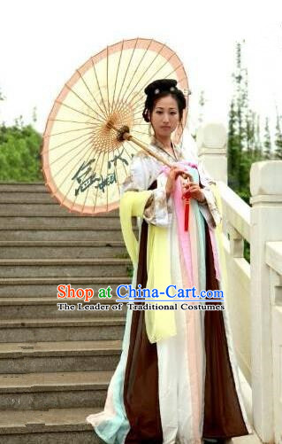 Traditional Oriental China Tang Dynasty Costume Palace Lady Embroidery Dress, Chinese Ancient Princess Embroidered Clothing for Women