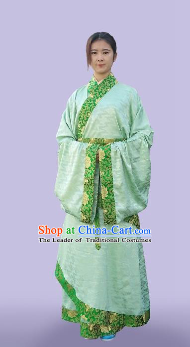 Traditional Asian Oriental China Costume Embroidery Palace Lady Green Curve Bottom, Chinese Hanfu Han Dynasty Princess Embroidered Clothing for Women