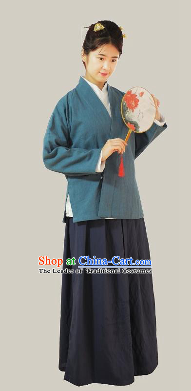 Traditional Chinese Ming Dynasty Young Lady Costumes Blue Linen Slant Opening Blouse for Women