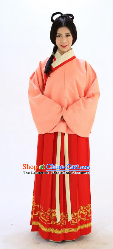 Traditional Chinese Ming Dynasty Young Lady Costumes Ancient Princess Embroidered Pink Blouse and Red Skirt Complete Set for Women
