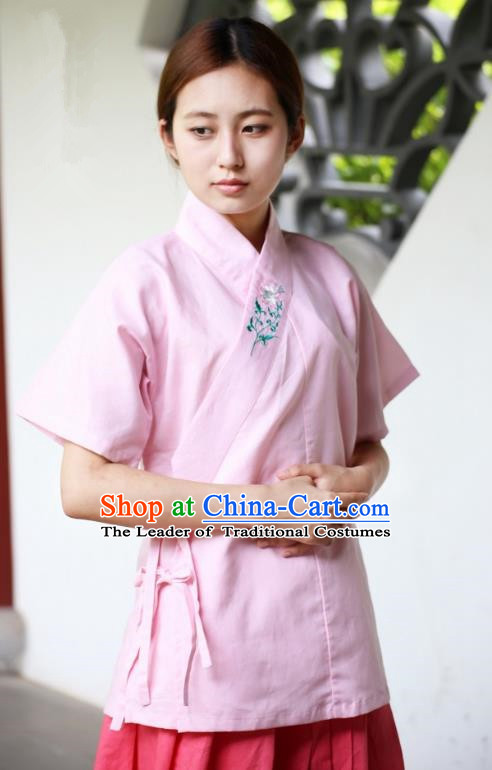 Traditional China Ancient Young Lady Costume Hanfu Pink Embroidered Blouse for Women