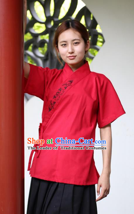 Traditional China Ancient Young Lady Costume Hanfu Red Embroidered Blouse for Women