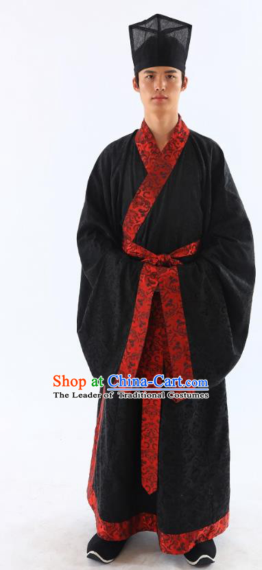 Traditional Asian China Han Dynasty Costume Chinese Ancient Hanfu Officer Scholar Black Long Robe for Men