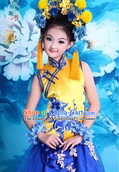 Traditional Ancient Chinese Imperial Consort Yellow Costume and Headpiece Complete Set, Chinese Qing Dynasty Manchu Lady Embroidered Clothing for Kids